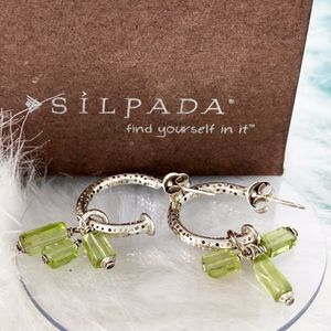 Silpada 925 Peridot Fringe Dangle Earrings P1180